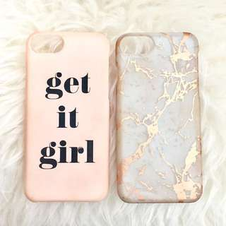 BUY 1 GET 1 BERSHKA AND STRADIVARIUS IPHONE 6 / 6S / 7 PINK GET IT GIRL AND ROSE GOLD MARBLE CASING