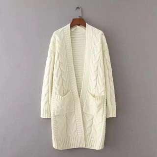麻花針織外套 米白