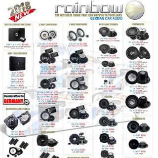 Rainbow Car Audio Speaker Amp Woofer Sound System