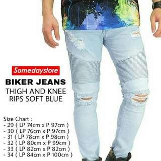 New Skinny Jeans Blue Sky Biker Ripped Jeans Sobek Fashion Pria Terbaru Murah Keren