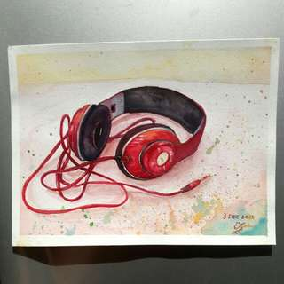 Headphone (watercolour painting)