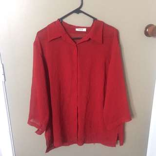 Sheer red blouse retro