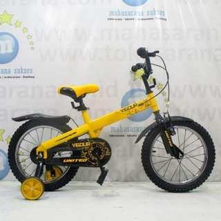 16in United Vigour BMX Sepeda Anak Laki-Laki Usia 4 - 7 Tahun Yellow