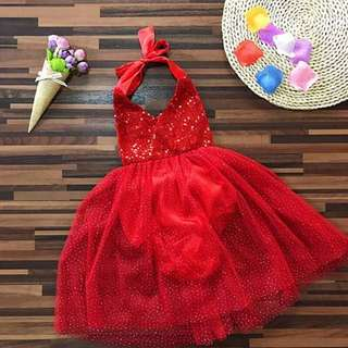Baby Girl Lace Romper Bowknot Red dress
