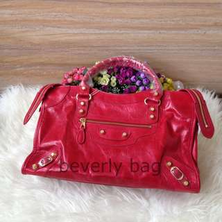 Sale jual tas Balenciaga City LEATHER MIRROR - red