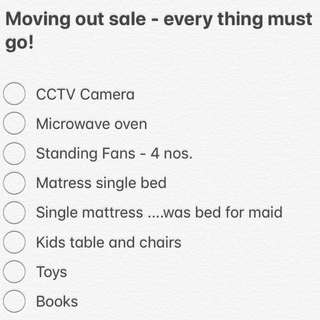 Moving out sale - everything must go!