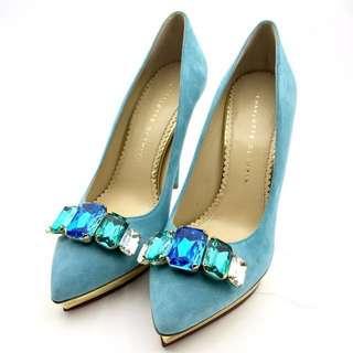 Charlotte Olympia Bejewelled Debonair Crystals Suede Pumps Aqua Size 39 藍色寶石猄皮高跟鞋