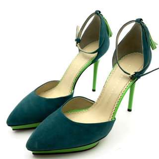 Charlotte Olympia Heather Suede Tentalising Teal Pumps Size 38 藍綠色流蘇猄皮高跟鞋