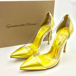 Gianvito Rossi Leather & PVC Pumps Laser Gold Size 36雷射金色高跟鞋