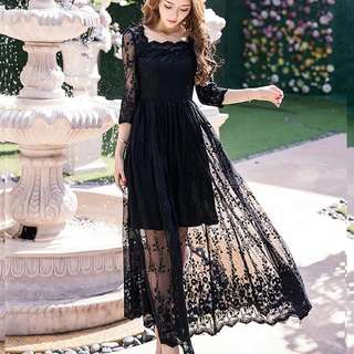Plus size available black mesh design long sleeve dress / evening gown