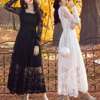 Plus size available black/white lace long sleeve dress / evening gown