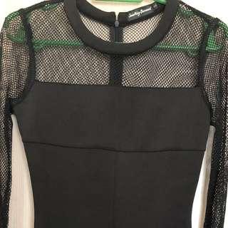 Black Dress - Panel Mesh Fluted Hem Dress