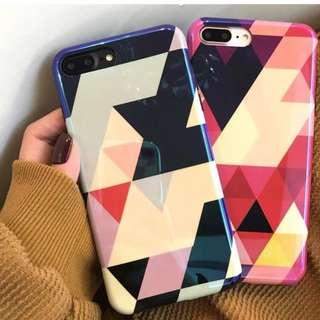 手機縠Iphone6/7/8/plus/X : 創意幾何圖形藍光