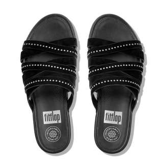 FitFlop LUMY™  Suede Slide Sandals With Studs | Black | US Women's Size 5,6,7,8,9,10 | Flip Flop Sandal Loafer Flat | Original Price US$130