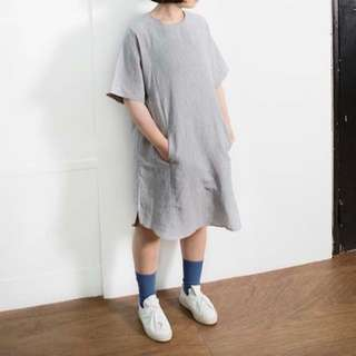 2143 韓貨 麻質寬鬆連身口袋洋裝 不分尺寸