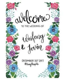 Custom Wedding Welcome Board | Craft | Hand Drawn