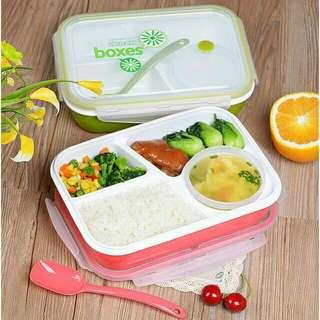 Lunch Box 4 Sekat + Mangkok & sendok BPA Free