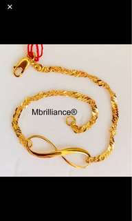 Infinity bracelet  916 Yellow Gold by Mbrilliance