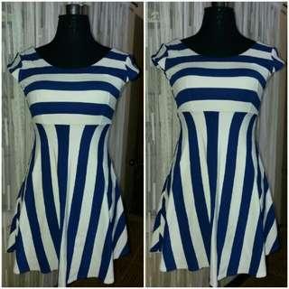 Stripe RoyalBlue White Mini Dress
