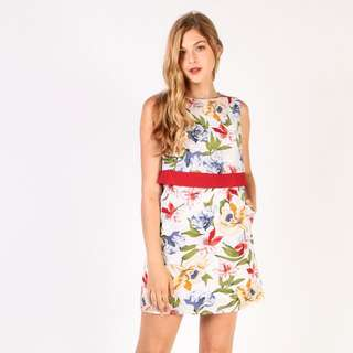 BNWT Dressabelle Double Layer Dress (White Floral)