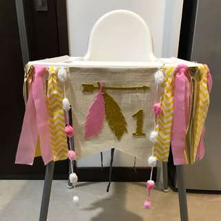 Baby first birthday high chair banner