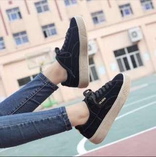 *BN* Ulzzang black velvet shoes