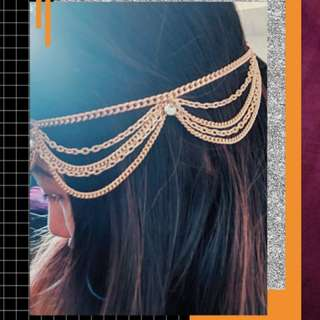 Gold festival hair chain