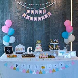 Baby first birthday party white cupcake dessert stand