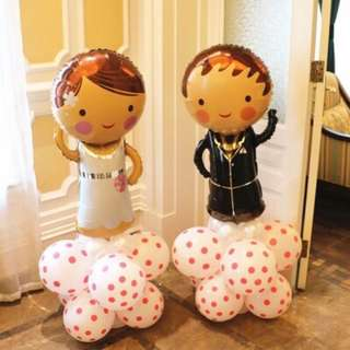 Brand new bride and groom wedding balloon