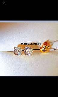 S size Solitaire Cz stones earstuds  916 Gold by Mbrilliance