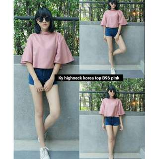 Highneck Korea Maron,Pink bahan Babllotely fit xl, LD 100