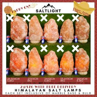 Himalayan Salt Lamps from Pakistan | Authentic, High Quality bulbs | 2 sets for $70 only with free delivery (4-5KG EACH SET)