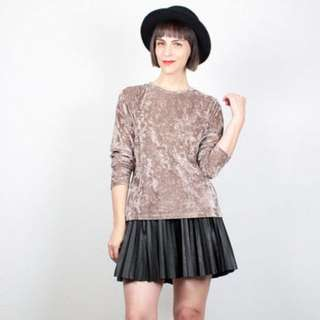 Paisley crushed velvet champagne gold long sleeve top