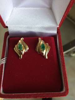 Women Emerald Diamond Gold Earrings 10K