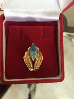 Men Women Unisex Blue Topaz Gold Pendant 10K