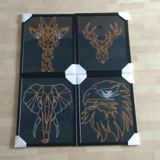 Animal acrylic golden, sliver photo with frame.i