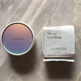 REPRICED!!! Authentic Laneige BB Cushion Pore Control - 21C Cool Beige + Refill (unopened)