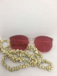 Red lens clear non metal frame
