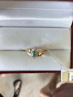 Women Emerald Diamond Gold Ring 10K