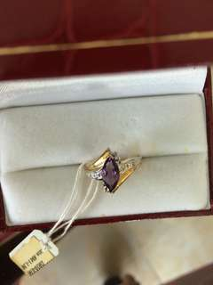 Women Amythst Diamond Gold Ring 10K