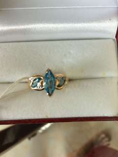 Women Blue Topaz Diamond Gold Ring 10K