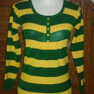 baju rajutan hijau kuning