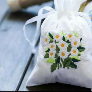 Embroidery Flowers Design Gift Bag