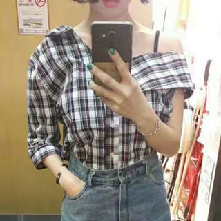 韓國新款格仔上衣