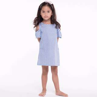 Blue and White Striped Shoulder Cut Out Summer Dress (more sizes available)