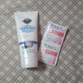 HOLLYWOOD PEEL OFF MASK w/ free ponds whitening facial wash