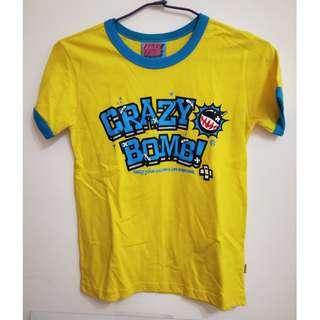 🚚 ✿二手✿  crazy bomb雙色拼接藍黃短袖t上衣