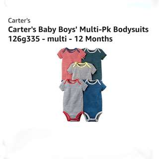 [FreeMail] 12M Carter's Baby Boy Bodysuit 5pcs $25