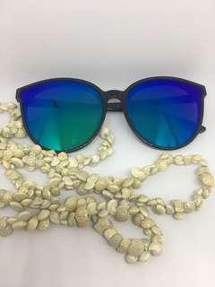 Blue green reflective lens sunglasses