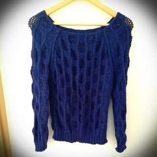 C 深藍寶藍粗冷針織上衣 dark blue knit top